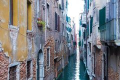 Narrow Canal in Venice Italy stock image