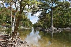 Run off below the Dam at Canyon Lake in Texas stock photos