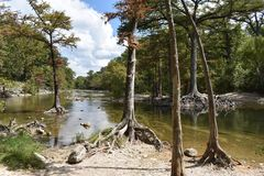 Run off below the Dam at Canyon Lake in Texas stock photography