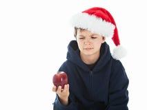 Was tun Sie mit dem organischen roten Apfel? Stockfotos