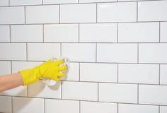 Was van witte tegels na wederopbouw van de keuken Royalty-vrije Stock Foto