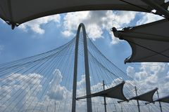 View of a cable bridge from Trinity Skyline Trail in Dallas Texas stock photography