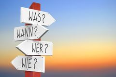 Was, wann, wer, wie - german concept Royalty Free Stock Images