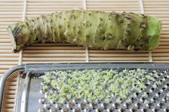 Wasabi. Selective focus image of a fresh wasabi root also called Japanese horseradish with a grater on a bamboo mat Royalty Free Stock Photos
