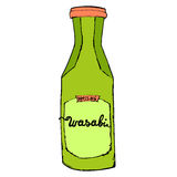 Wasabi bottle isolated on white background. Colorful hand drawn Stock Image