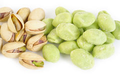 Wasabi coated pistachios Royalty Free Stock Images
