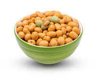 Wasabi crispy peanut snack balls  in a cup isolated on white background. with clipping paths. Wasabi crispy peanut snack balls  in a cup isolated on white Stock Photography