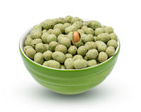 Wasabi crispy peanut snack balls  in a cup isolated on white background. with clipping paths. Royalty Free Stock Photos