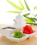 Wasabi da American National Standard do gengibre com molho de soja Imagem de Stock Royalty Free