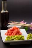 Wasabi de Gimger et bâtons en bambou Photographie stock