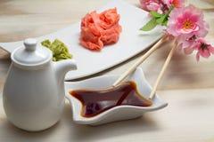 Wasabi de gingembre et sauce de soja Image stock