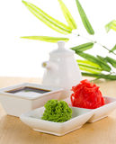 Wasabi de la American National Standard del jengibre con la salsa de soja Imagen de archivo libre de regalías