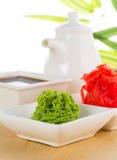 Wasabi de la American National Standard del jengibre con la salsa de soja Imagenes de archivo