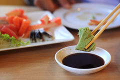 Wasabi en sojasaus Stock Afbeelding