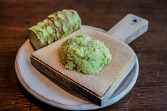 Wasabi. Grated fresh wasabii by shark skin grater, japanese condiment for sushi and sashimi Stock Photo