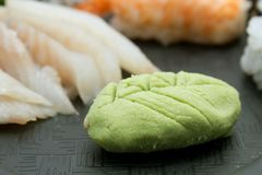 Wasabi, gryzący zielony Japoński condiment robić od korzenia zielarski Eutrema wasabi obraz royalty free