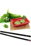 Wasabi with leaf and blossom Stock Image