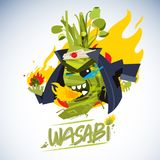 Wasabi mascot in japanese costume with fire. hot and spicy chara. Cter deign -  illustration Stock Image