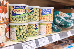 Wasabi peas and nuts Royalty Free Stock Image