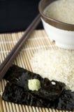 Wasabi puesto en alga marina Imágenes de archivo libres de regalías