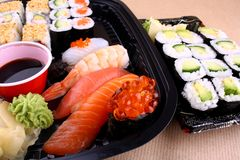 Wasabi and salmon caviar ikura in focus vrom sushi menu Stock Photography