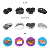 Wasabi sauce and ginger, salmon steak, octopus. Sushi set collection icons in black, flat, monochrome style vector. Symbol stock illustration royalty free illustration
