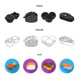 Wasabi sauce and ginger, salmon steak, octopus. Sushi set collection icons in cartoon style vector symbol stock. Illustration vector illustration