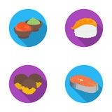 Wasabi sauce and ginger, salmon steak, octopus. Sushi set collection icons in flat style vector symbol stock Royalty Free Stock Photography