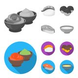 Wasabi sauce and ginger, salmon steak, octopus. Sushi set collection icons in monochrome,flat style vector symbol stock. Illustration royalty free illustration