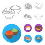 Wasabi sauce and ginger, salmon steak, octopus. Sushi set collection icons in outline,flat style vector symbol stock. Illustration royalty free illustration