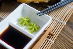 Wasabi and soy sauce on table Royalty Free Stock Photos