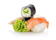 Wasabi and sushi. Sushi and wasabi isolated on a white background Royalty Free Stock Photography