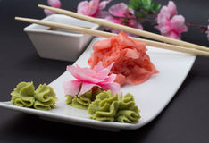 Wasabi- und Bambusstöcke Gimger Lizenzfreies Stockbild