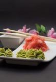 Wasabi- und Bambusstöcke Gimger Stockfotos