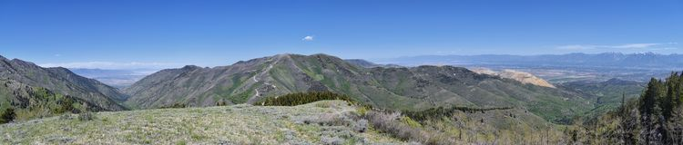 Wasatch前面落矶山全景从Oquirrh山的, Kennecott里约Tinto铜矿、犹他湖和Grea 免版税图库摄影