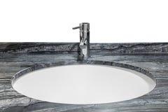 Wasbak met marmeren die bovenkant op witte achtergrond wordt geïsoleerd Stock Afbeeldingen