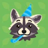 Wasbeer emotioneel hoofd De vectorillustratie van leuke wasbeer toont groetemotie Het vieren emoji Het Pictogram van Smiley af:dr royalty-vrije illustratie