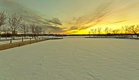 Wascana lake freezing Royalty Free Stock Image