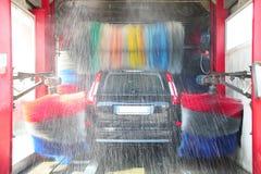 Waschanlage in der Aktion im Stationsservice Stockbilder