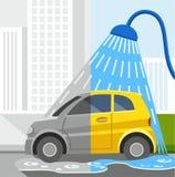 Waschanlage, farbige Illustrationen, schmutziges Auto, sauberes Auto Lizenzfreies Stockfoto