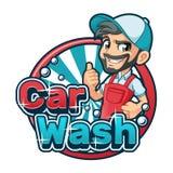 Waschanlage-Karikatur-Logo mit dem Mann, der Waschanlage-Schutzblech verwendet vektor abbildung