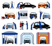 Waschanlage-Service-Ebenen-Piktogramme eingestellt Lizenzfreie Stockfotos