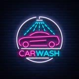 Waschanlagelogo-Designemblem in der Neonartvektorillustration Schablone, Konzept, Leuchtreklame auf dem Thema des Waschens Lizenzfreie Stockbilder