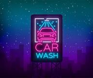 Waschanlagelogo-Designemblem in der Neonartvektorillustration Schablone, Konzept, Leuchtreklame auf dem Thema des Waschens Stockfotografie