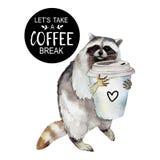Waschbär mit Kaffeetasse und stilvollem Slogan, Tiercharakter lokalisiert auf Weiß vektor abbildung