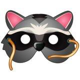 Waschbärmaske auf Gesicht in der Karikaturart Lizenzfreie Stockfotografie
