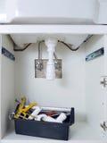 Waschbeckenklempnerarbeitvorrichtungen Stockbild