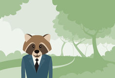 Waschbär-Hauptkarikatur-Geschäftsmann Suit Profile Icon Stockbilder