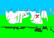 Waschen auf der Zeile Stockfoto