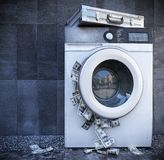 Waschen der Bargeschäft-Hintergrundkonzeptnahaufnahme Stockfotos